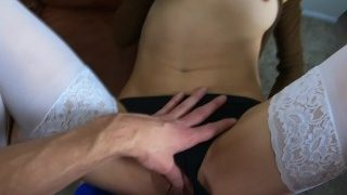 Innocent schoolgirl in braids gets pounded & close up dripping creampie!♡