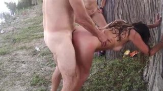 Husband fucking friend while wife watches