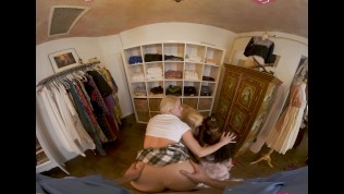 VR BANGERS Group Of Sexy Schoolgirls Get Caught Stealing Clothes VR Porn